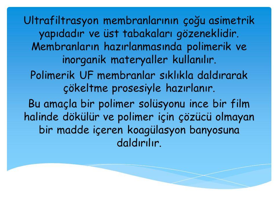 Ultrafiltrasyon membranlarının çoğu asimetrik yapıdadır ve üst tabakaları gözeneklidir. Membranların hazırlanmasında polimerik ve inorganik materyalle