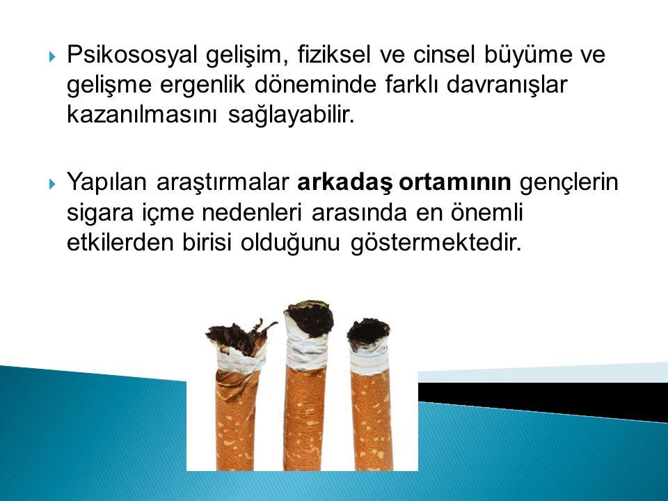  Çocukluk ve ergenlik dönemlerinde her iki cinsiyet için de sigara içmelerine neden olan etmenler: Psiko-sosyal etmenler, Düşük eğitim düzeyi (kendisinin ve ailesinin), Düşük benlik saygısı, Risk alma, Sigaranın zararlarının olmadığını kabul etme, Sigara içen kişilerin ya da sigara içmenin beğenilen bir davranış olarak kabul edilmesi,