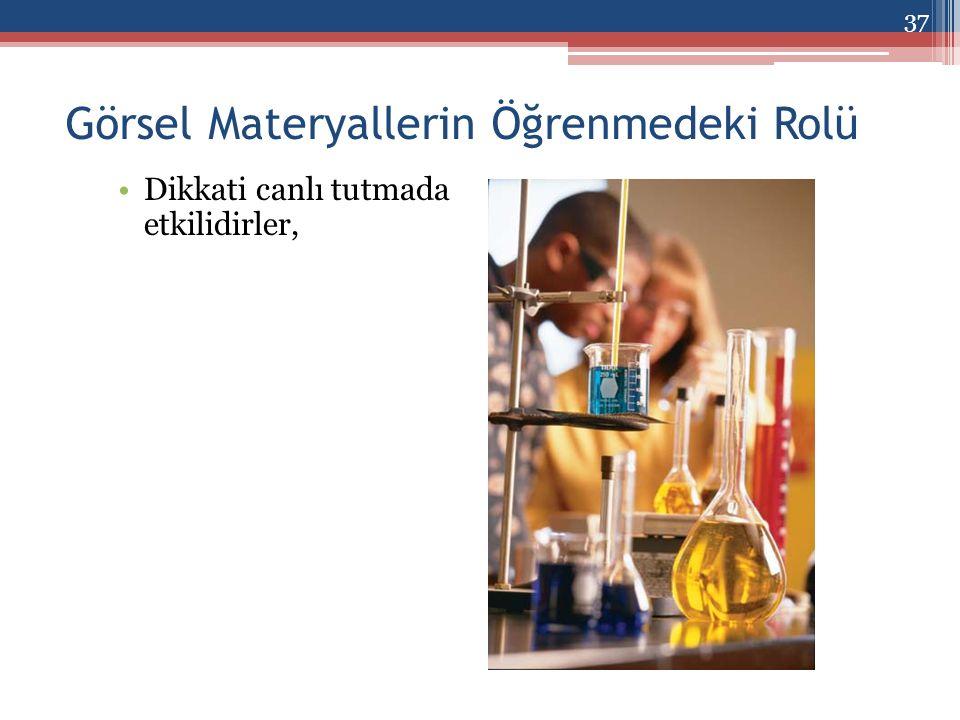 Görsel Materyallerin Öğrenmedeki Rolü Dikkati canlı tutmada etkilidirler, 37