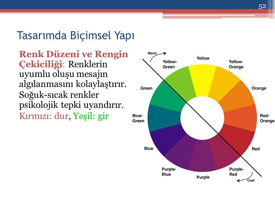 Tasarımda Biçimsel Yapı Renk Düzeni ve Rengin Çekiciliği: Renklerin uyumlu oluşu mesajın algılanmasını kolaylaştırır.