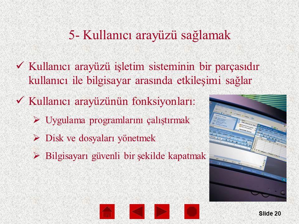 Slide 20 5- Kullanıcı arayüzü sağlamak Kullanıcı arayüzü işletim sisteminin bir parçasıdır kullanıcı ile bilgisayar arasında etkileşimi sağlar Kullanı