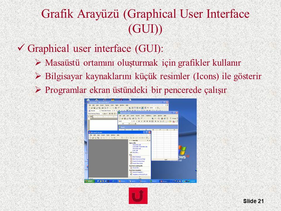 Slide 21 Grafik Arayüzü (Graphical User Interface (GUI)) Graphical user interface (GUI):  Masaüstü ortamını oluşturmak için grafikler kullanır  Bilg