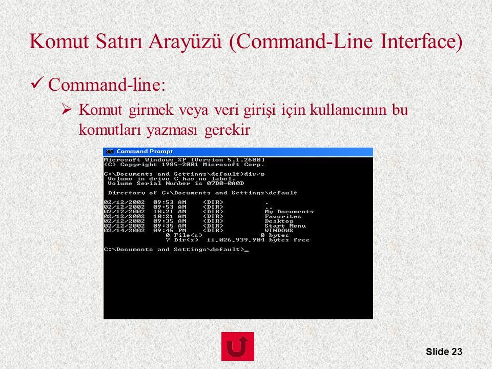 Slide 23 Komut Satırı Arayüzü (Command-Line Interface) Command-line:  Komut girmek veya veri girişi için kullanıcının bu komutları yazması gerekir