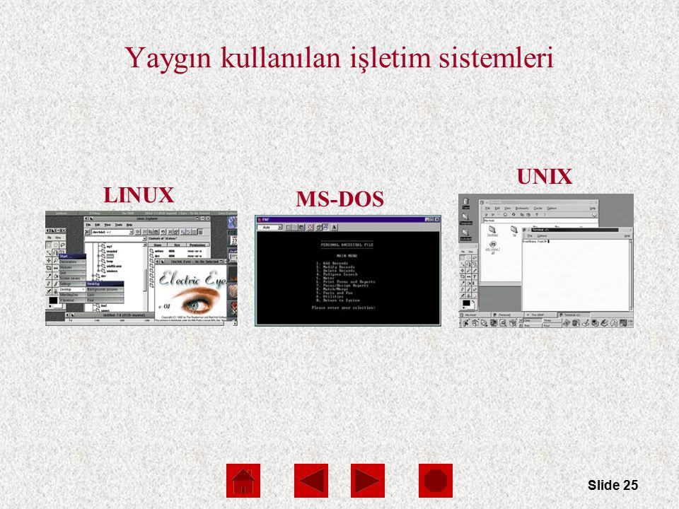 Slide 25 MS-DOS LINUX UNIX Yaygın kullanılan işletim sistemleri