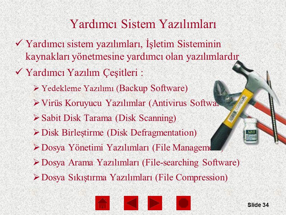 Slide 34 Yardımcı Sistem Yazılımları Yardımcı sistem yazılımları, İşletim Sisteminin kaynakları yönetmesine yardımcı olan yazılımlardır Yardımcı Yazıl