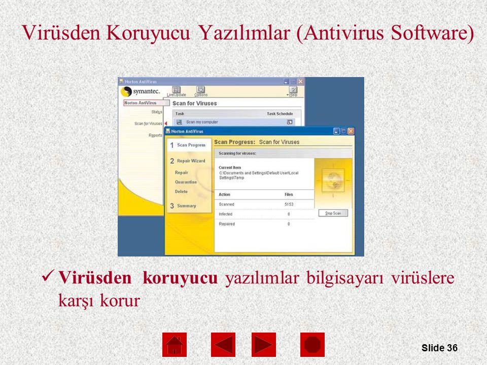 Slide 36 Virüsden Koruyucu Yazılımlar (Antivirus Software) Virüsden koruyucu yazılımlar bilgisayarı virüslere karşı korur