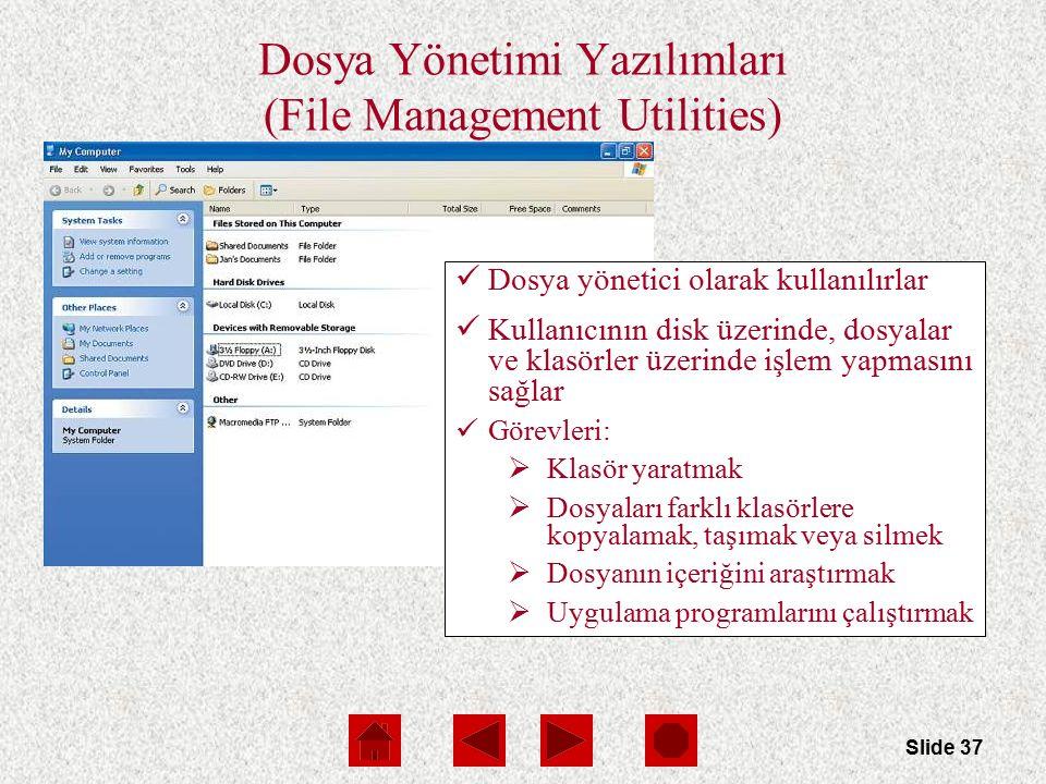 Slide 37 Dosya Yönetimi Yazılımları (File Management Utilities) Dosya yönetici olarak kullanılırlar Kullanıcının disk üzerinde, dosyalar ve klasörler