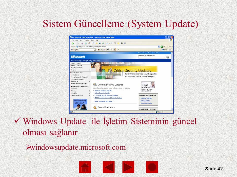 Slide 42 Sistem Güncelleme (System Update) Windows Update ile İşletim Sisteminin güncel olması sağlanır  windowsupdate.microsoft.com