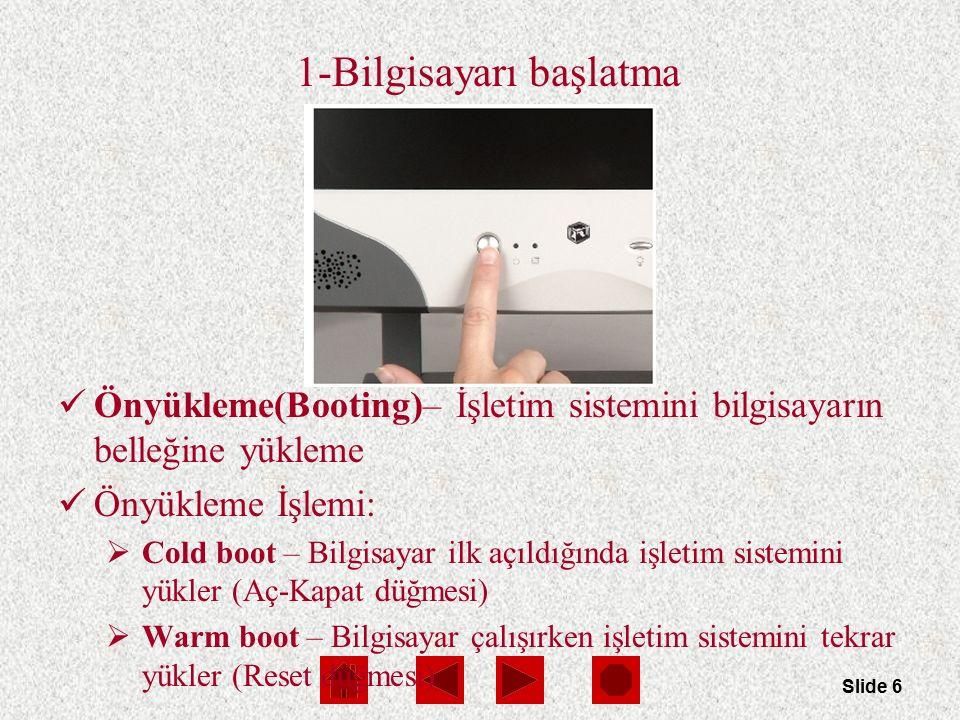 Slide 6 1-Bilgisayarı başlatma Önyükleme(Booting)– İşletim sistemini bilgisayarın belleğine yükleme Önyükleme İşlemi:  Cold boot – Bilgisayar ilk açı