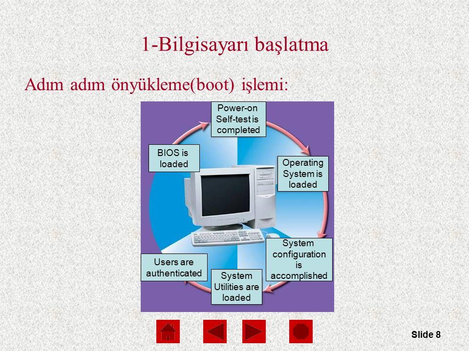 Slide 9 1.Adım: BIOS ve Setup Programları ROM (Read Only Memory) – Kalıcı ve değiştirilemez bellek BIOS (Basic Input/Output System) – Bilgisayarın giriş çıkış işlemlerini gerçekleştirebilmesi için gerekli sistem yazılımlarıdır.