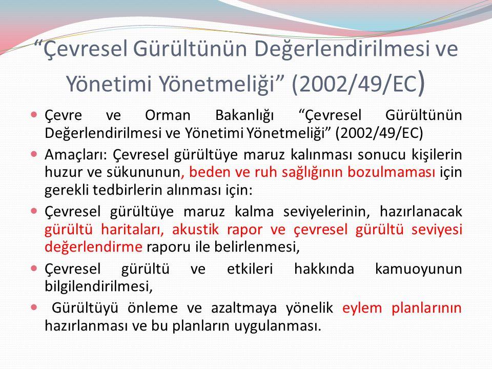 """""""Çevresel Gürültünün Değerlendirilmesi ve Yönetimi Yönetmeliği"""" (2002/49/EC ) Çevre ve Orman Bakanlığı """"Çevresel Gürültünün Değerlendirilmesi ve Yönet"""