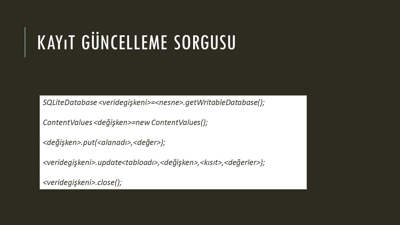 KAYıT GÜNCELLEME SORGUSU SQLiteDatabase =.getWritableDatabase(); ContentValues =new ContentValues();.put(, );.update,,, );.close();
