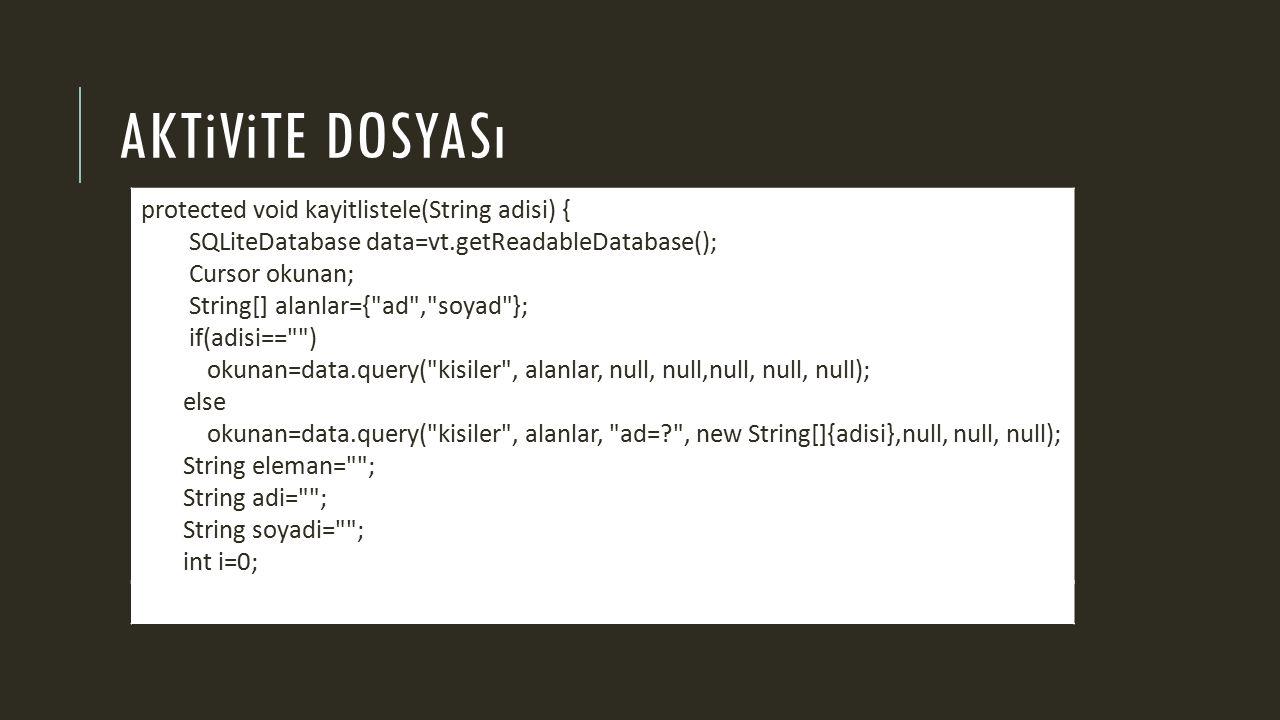 AKTiViTE DOSYASı protected void kayitlistele(String adisi) { SQLiteDatabase data=vt.getReadableDatabase(); Cursor okunan; String[] alanlar={ ad , soyad }; if(adisi== ) okunan=data.query( kisiler , alanlar, null, null,null, null, null); else okunan=data.query( kisiler , alanlar, ad=? , new String[]{adisi},null, null, null); String eleman= ; String adi= ; String soyadi= ; int i=0;
