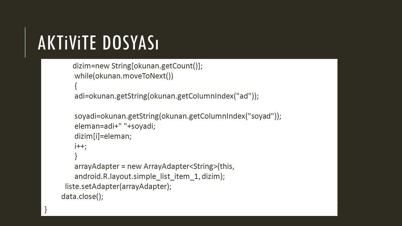AKTiViTE DOSYASı dizim=new String[okunan.getCount()]; while(okunan.moveToNext()) { adi=okunan.getString(okunan.getColumnIndex( ad )); soyadi=okunan.getString(okunan.getColumnIndex( soyad )); eleman=adi+ +soyadi; dizim[i]=eleman; i++; } arrayAdapter = new ArrayAdapter (this, android.R.layout.simple_list_item_1, dizim); liste.setAdapter(arrayAdapter); data.close(); }