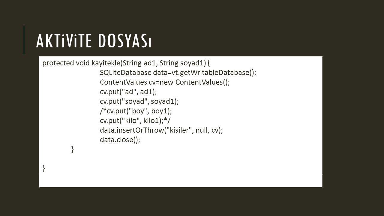 AKTiViTE DOSYASı protected void kayitekle(String ad1, String soyad1) { SQLiteDatabase data=vt.getWritableDatabase(); ContentValues cv=new ContentValues(); cv.put( ad , ad1); cv.put( soyad , soyad1); /*cv.put( boy , boy1); cv.put( kilo , kilo1);*/ data.insertOrThrow( kisiler , null, cv); data.close(); } }