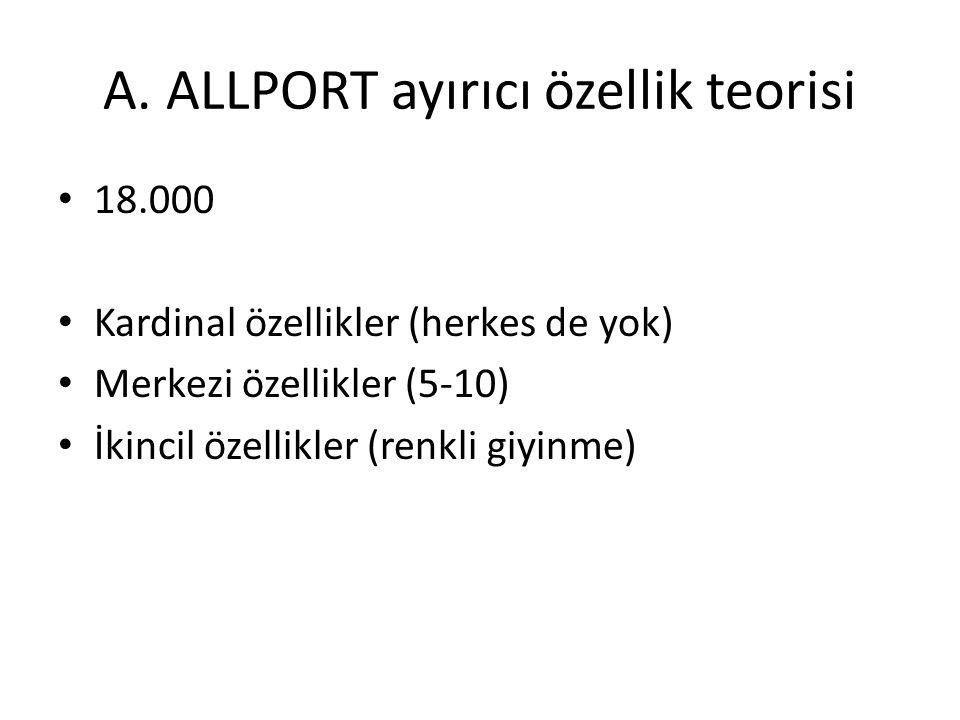 A. ALLPORT ayırıcı özellik teorisi 18.000 Kardinal özellikler (herkes de yok) Merkezi özellikler (5-10) İkincil özellikler (renkli giyinme)