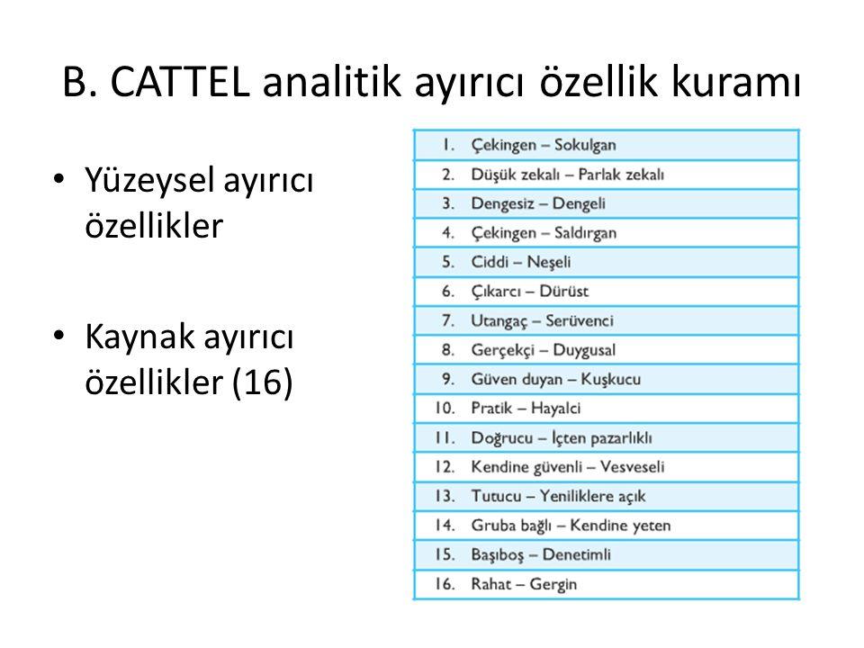 B. CATTEL analitik ayırıcı özellik kuramı Yüzeysel ayırıcı özellikler Kaynak ayırıcı özellikler (16)