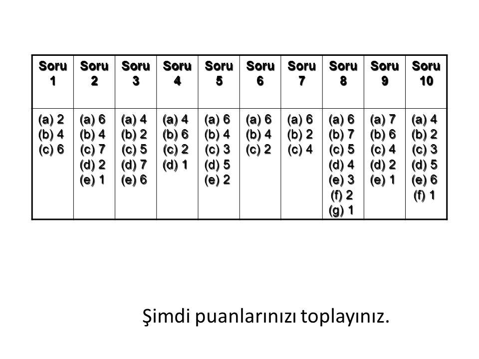 Şimdi puanlarınızı toplayınız. Soru 1 Soru 2 Soru 3 Soru 4 Soru 5 Soru 6 Soru 7 Soru 8 Soru 9 Soru 10 (a) 2 (b) 4 (c) 6 (a) 2 (b) 4 (c) 6 (a) 6 (b) 4