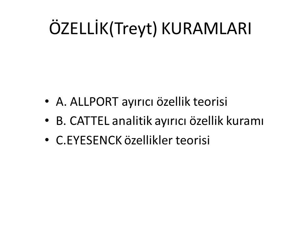 ÖZELLİK(Treyt) KURAMLARI A. ALLPORT ayırıcı özellik teorisi B. CATTEL analitik ayırıcı özellik kuramı C.EYESENCK özellikler teorisi