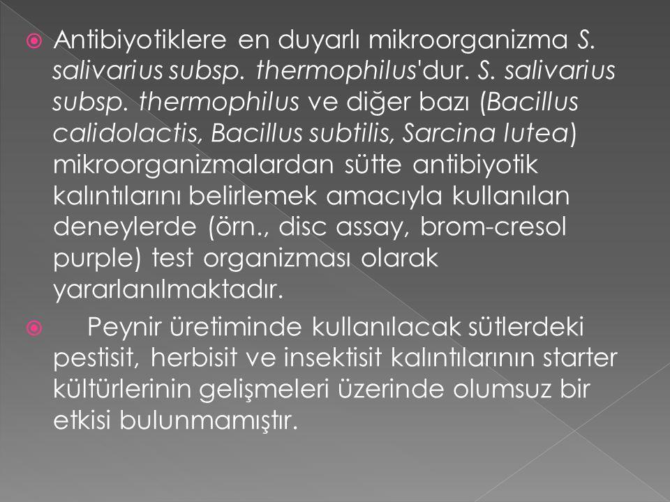  Antibiyotiklere en duyarlı mikroorganizma S. salivarius subsp. thermophilus'dur. S. salivarius subsp. thermophilus ve diğer bazı (Bacillus calidolac