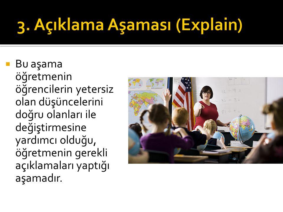  Bu aşama öğretmenin öğrencilerin yetersiz olan düşüncelerini doğru olanları ile değiştirmesine yardımcı olduğu, öğretmenin gerekli açıklamaları yapt