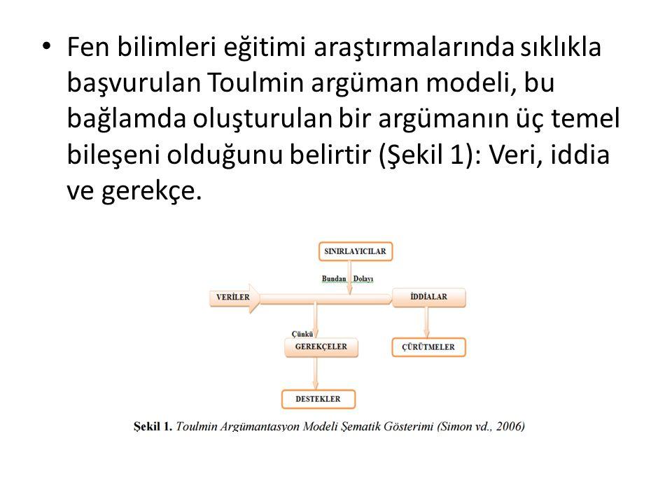 Fen bilimleri eğitimi araştırmalarında sıklıkla başvurulan Toulmin argüman modeli, bu bağlamda oluşturulan bir argümanın üç temel bileşeni olduğunu be