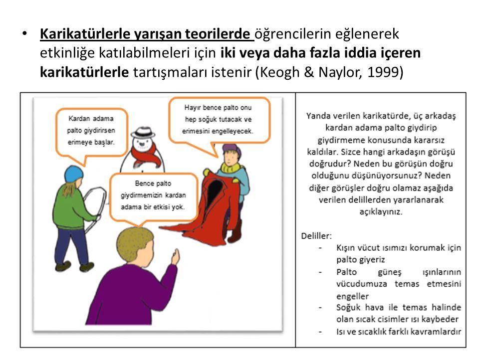 Karikatürlerle yarışan teorilerde öğrencilerin eğlenerek etkinliğe katılabilmeleri için iki veya daha fazla iddia içeren karikatürlerle tartışmaları i