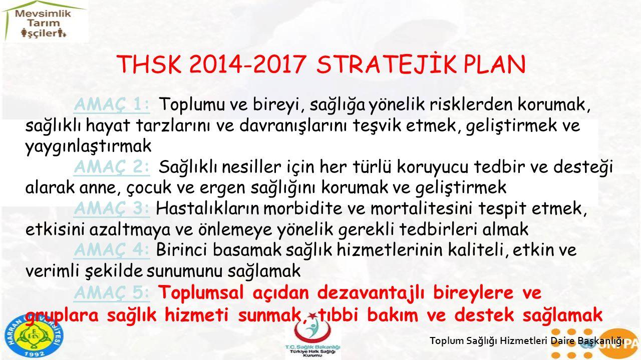 THSK 2014-2017 STRATEJİK PLAN AMAÇ 1: Toplumu ve bireyi, sağlığa yönelik risklerden korumak, sağlıklı hayat tarzlarını ve davranışlarını teşvik etmek,