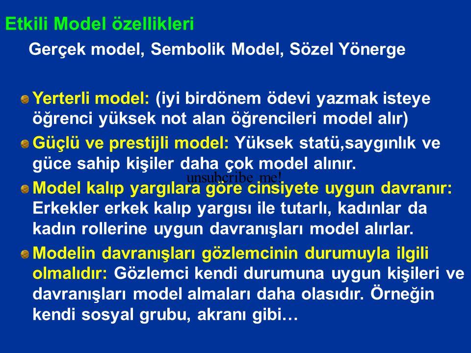 Etkili Model özellikleri Gerçek model, Sembolik Model, Sözel Yönerge Yerterli model: (iyi birdönem ödevi yazmak isteye öğrenci yüksek not alan öğrenci