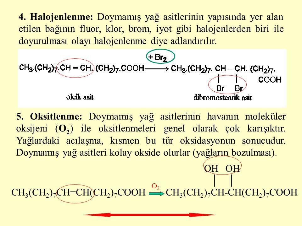 4. Halojenlenme: Doymamış yağ asitlerinin yapısında yer alan etilen bağının fluor, klor, brom, iyot gibi halojenlerden biri ile doyurulması olayı halo