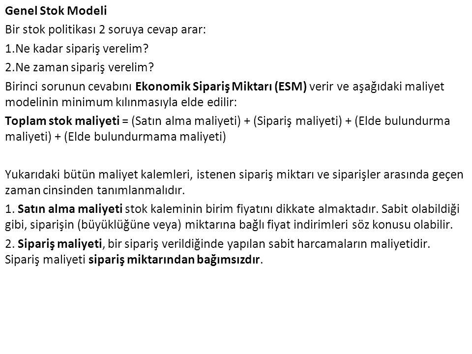 Genel Stok Modeli Bir stok politikası 2 soruya cevap arar: 1.Ne kadar sipariş verelim.
