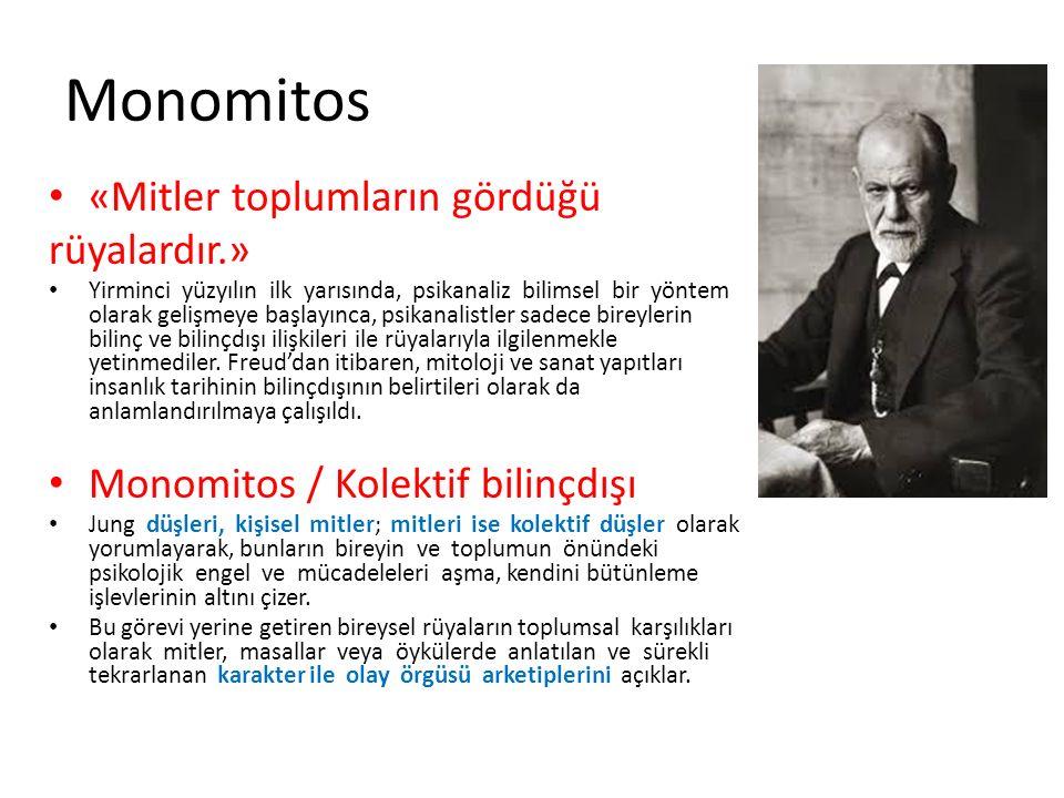 Monomitos «Mitler toplumların gördüğü rüyalardır.» Yirminci yüzyılın ilk yarısında, psikanaliz bilimsel bir yöntem olarak gelişmeye başlayınca, psikan