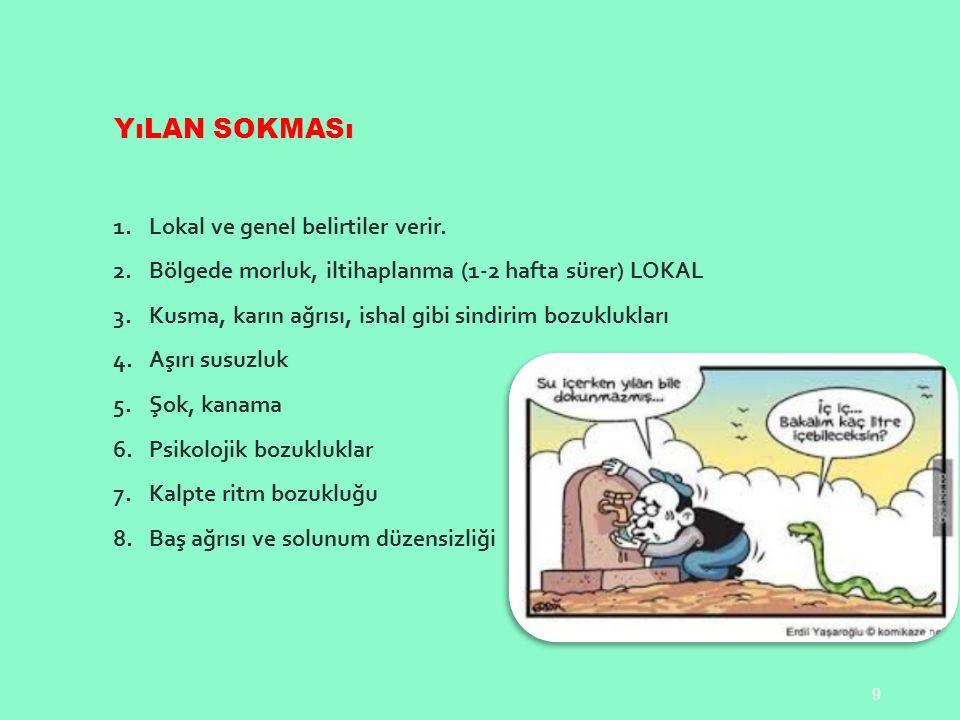 YıLAN SOKMASı 1.Lokal ve genel belirtiler verir.