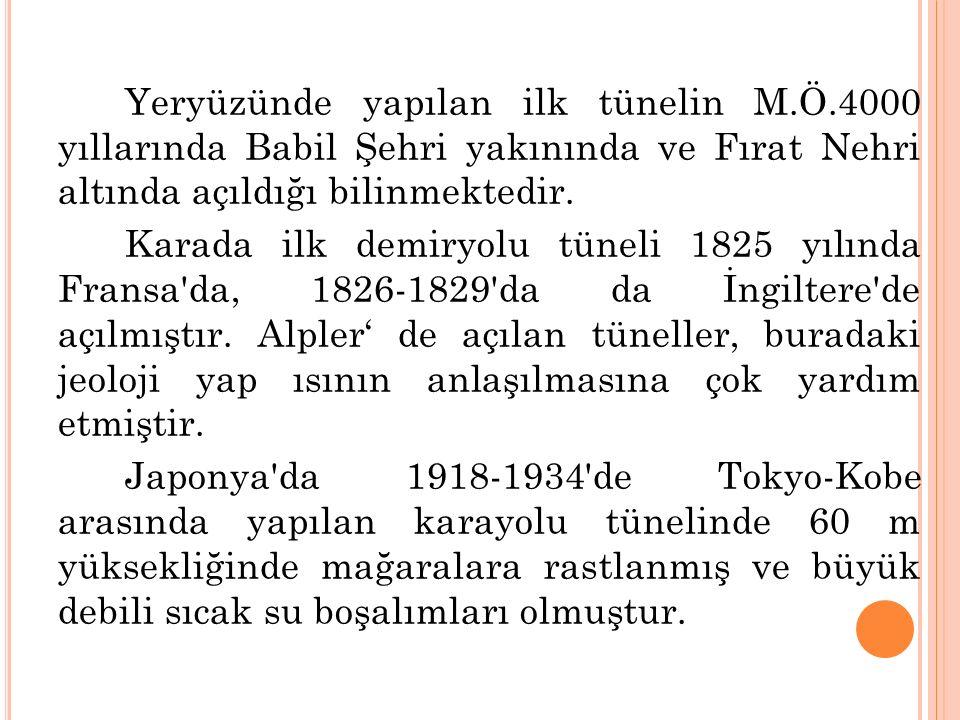 Yeryüzünde yapılan ilk tünelin M.Ö.4000 yıllarında Babil Şehri yakınında ve Fırat Nehri altında açıldığı bilinmektedir. Karada ilk demiryolu tüneli 18