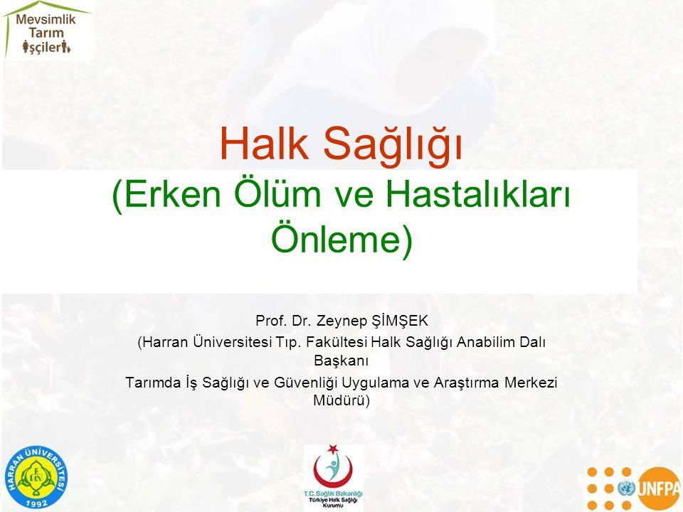 Halk Sağlığı (Erken Ölüm ve Hastalıkları Önleme) Prof. Dr. Zeynep ŞİMŞEK (Harran Üniversitesi Tıp. Fakültesi Halk Sağlığı Anabilim Dalı Başkanı Tarımd