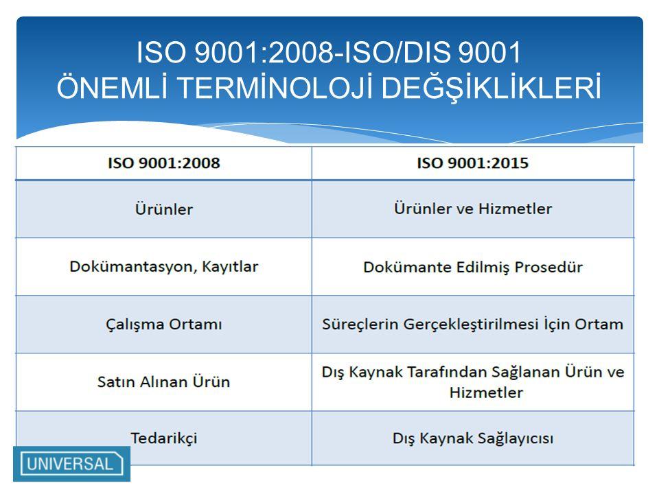 ISO 9001:2008-ISO/DIS 9001 ÖNEMLİ TERMİNOLOJİ DEĞŞİKLİKLERİ