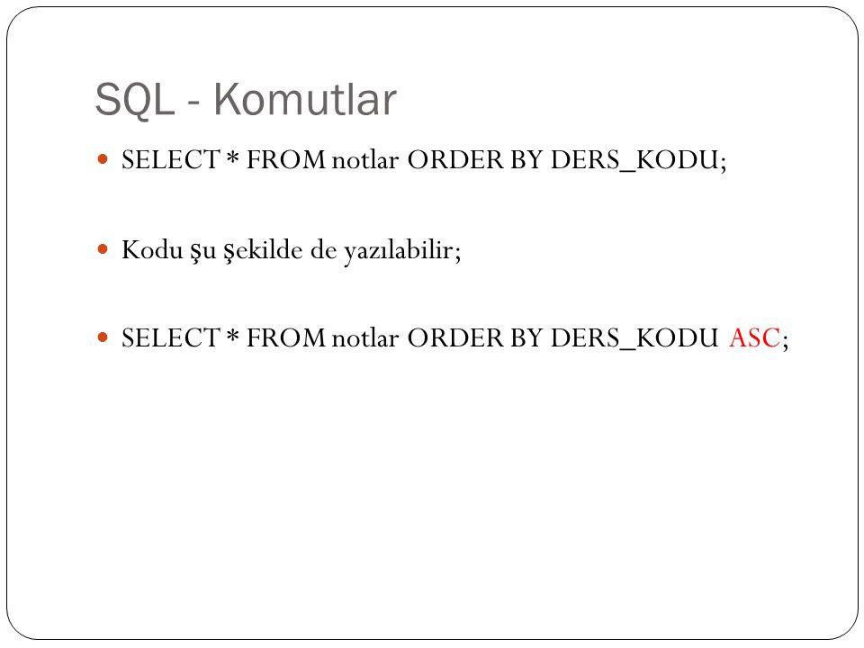 SQL - Komutlar SELECT * FROM notlar ORDER BY DERS_KODU; Kodu ş u ş ekilde de yazılabilir; SELECT * FROM notlar ORDER BY DERS_KODU ASC;