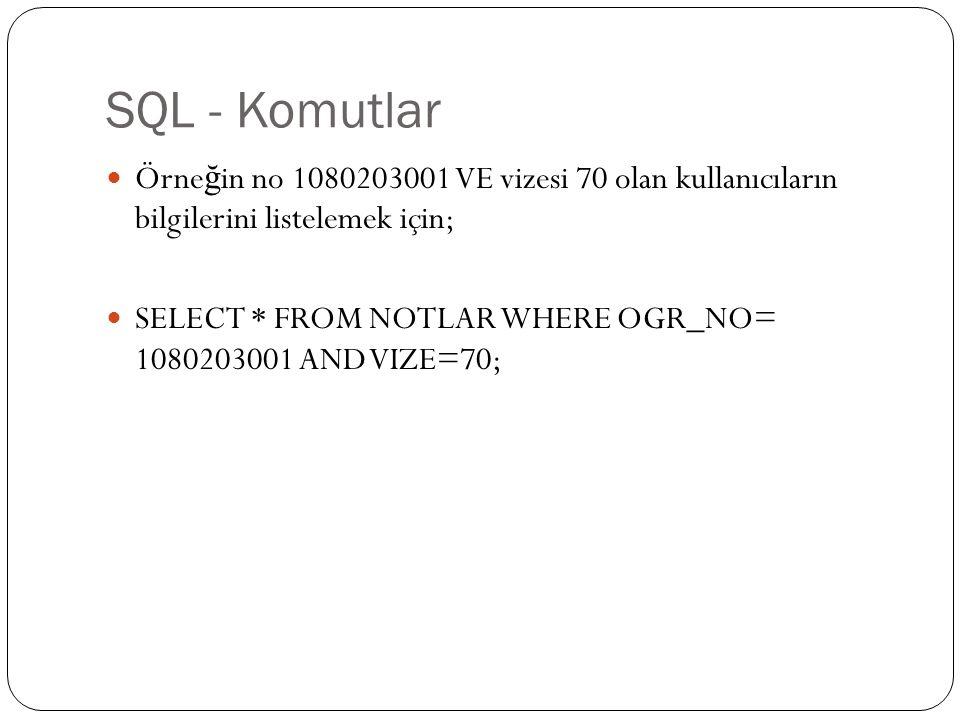 SQL - Komutlar Örne ğ in no 1080203001 VE vizesi 70 olan kullanıcıların bilgilerini listelemek için; SELECT * FROM NOTLAR WHERE OGR_NO= 1080203001 AND VIZE=70;
