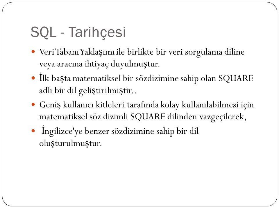 SQL - Tarihçesi Veri Tabanı Yakla ş ımı ile birlikte bir veri sorgulama diline veya aracına ihtiyaç duyulmu ş tur.