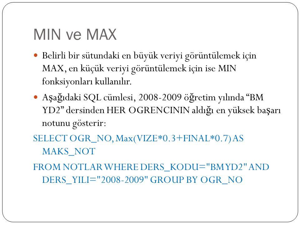 MIN ve MAX Belirli bir sütundaki en büyük veriyi görüntülemek için MAX, en küçük veriyi görüntülemek için ise MIN fonksiyonları kullanılır.