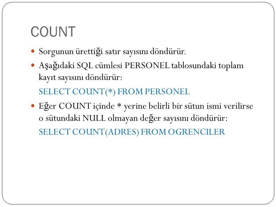 COUNT Sorgunun üretti ğ i satır sayısını döndürür.