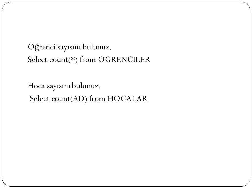Ö ğ renci sayısını bulunuz.Select count(*) from OGRENCILER Hoca sayısını bulunuz.