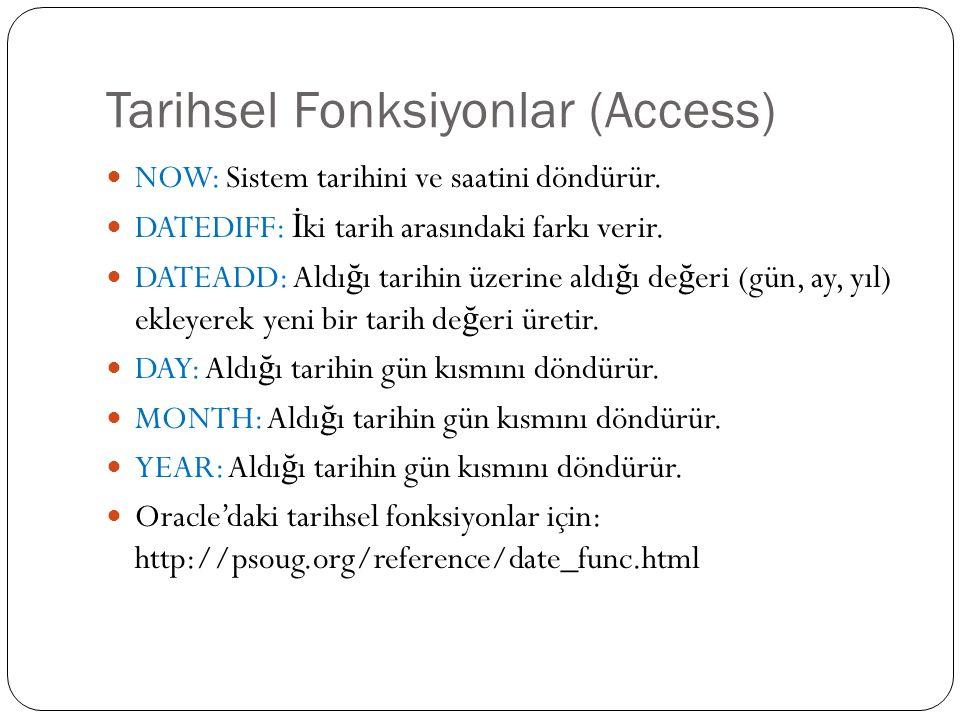Tarihsel Fonksiyonlar (Access) NOW: Sistem tarihini ve saatini döndürür.