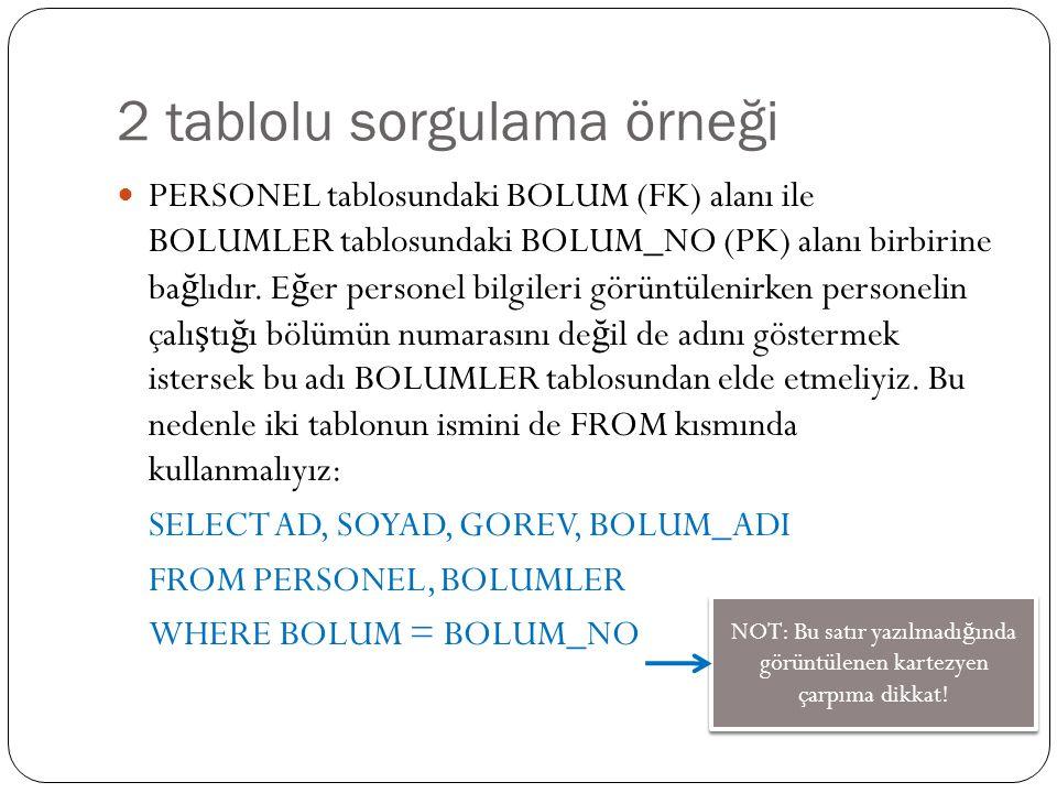 2 tablolu sorgulama örneği PERSONEL tablosundaki BOLUM (FK) alanı ile BOLUMLER tablosundaki BOLUM_NO (PK) alanı birbirine ba ğ lıdır.