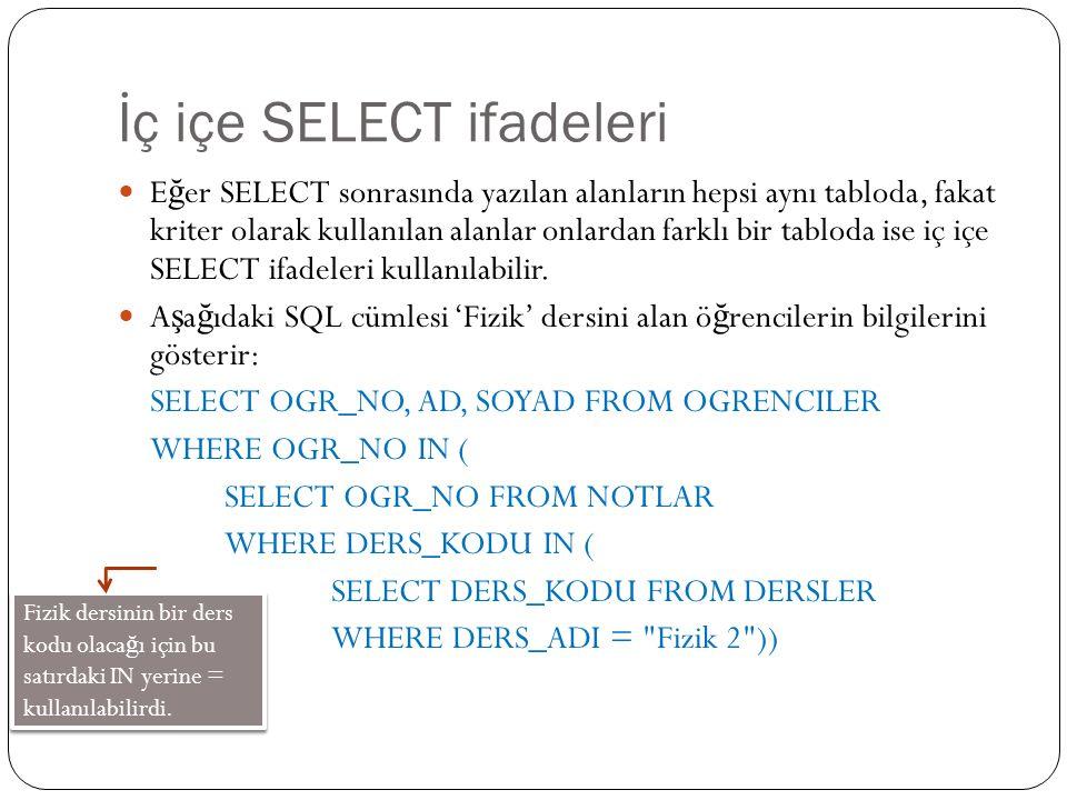 İç içe SELECT ifadeleri E ğ er SELECT sonrasında yazılan alanların hepsi aynı tabloda, fakat kriter olarak kullanılan alanlar onlardan farklı bir tabloda ise iç içe SELECT ifadeleri kullanılabilir.