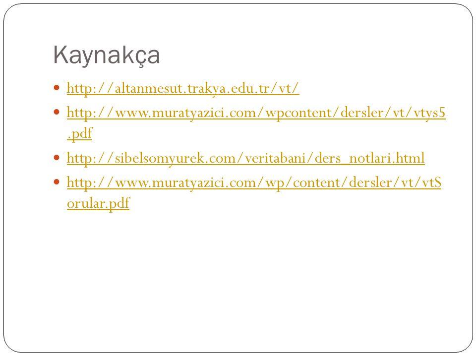 Kaynakça http://altanmesut.trakya.edu.tr/vt/ http://www.muratyazici.com/wpcontent/dersler/vt/vtys5.pdf http://www.muratyazici.com/wpcontent/dersler/vt/vtys5.pdf http://sibelsomyurek.com/veritabani/ders_notlari.html http://www.muratyazici.com/wp/content/dersler/vt/vtS orular.pdf http://www.muratyazici.com/wp/content/dersler/vt/vtS orular.pdf