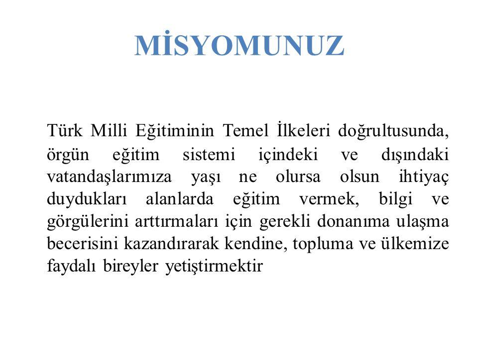 MİSYOMUNUZ Türk Milli Eğitiminin Temel İlkeleri doğrultusunda, örgün eğitim sistemi içindeki ve dışındaki vatandaşlarımıza yaşı ne olursa olsun ihtiya