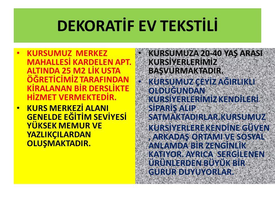 DEKORATİF EV TEKSTİLİ KURSUMUZ MERKEZ MAHALLESİ KARDELEN APT.