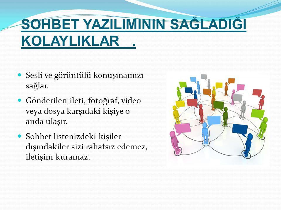 Sesli ve görüntülü konuşmamızı sağlar. Gönderilen ileti, fotoğraf, video veya dosya karşıdaki kişiye o anda ulaşır. Sohbet listenizdeki kişiler dışınd