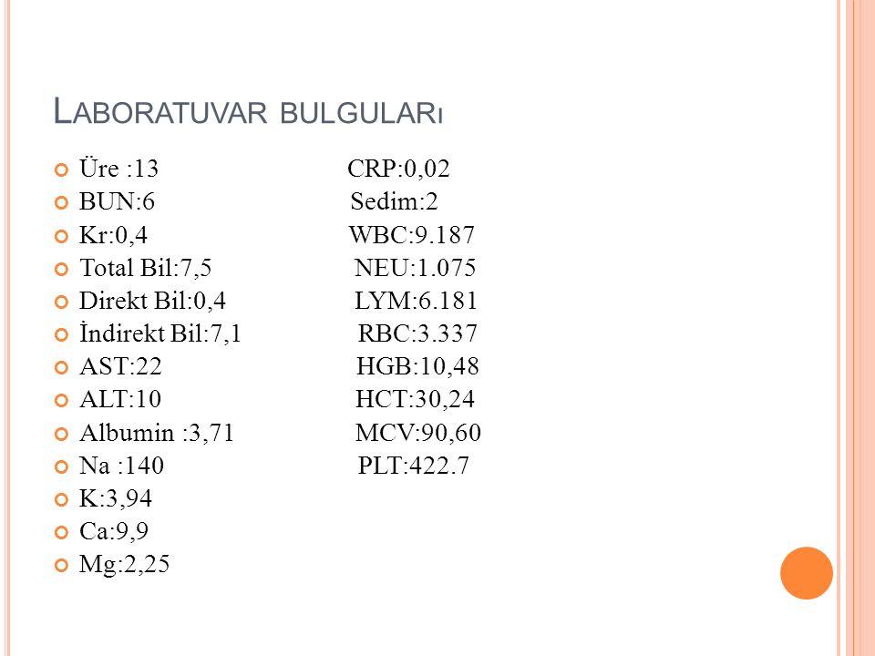 L ABORATUVAR BULGULARı Üre :13 CRP:0,02 BUN:6 Sedim:2 Kr:0,4 WBC:9.187 Total Bil:7,5 NEU:1.075 Direkt Bil:0,4 LYM:6.181 İndirekt Bil:7,1 RBC:3.337 AST:22 HGB:10,48 ALT:10 HCT:30,24 Albumin :3,71 MCV:90,60 Na :140 PLT:422.7 K:3,94 Ca:9,9 Mg:2,25